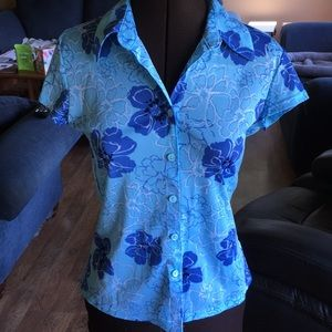 Bright Blue Floral Button Up